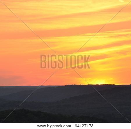 Sunset with rolling hills