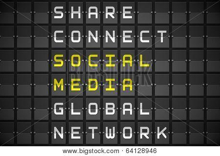 Social media buzzwords on digitally generated black mechanical board