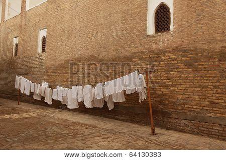 white laundry, Khiva, Uzbekistan