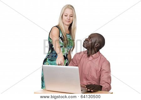 Blond Woman And Black Man