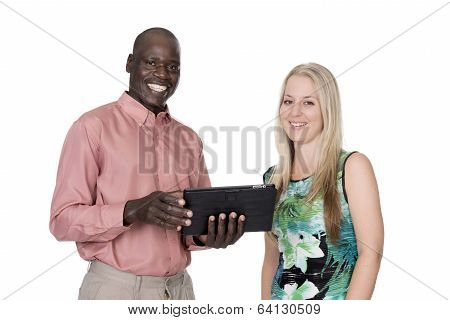 Black Man And White Woman And A Tablet