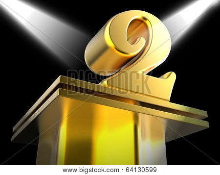 Golden Two On Pedestal Means Recognition And Success