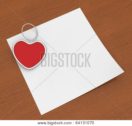 Heart Clip On Note Shows Affection Note Or Love Letter