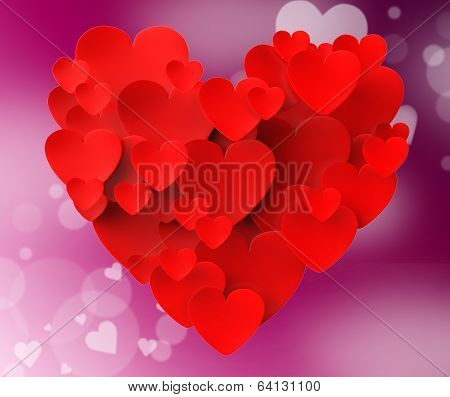Heart Made With Hearts Means Romanticism Valentines And Love