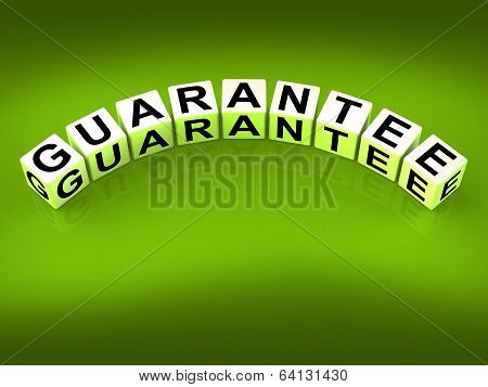 Guarantee Blocks Show Pledge Of Risk Free Guaranteed