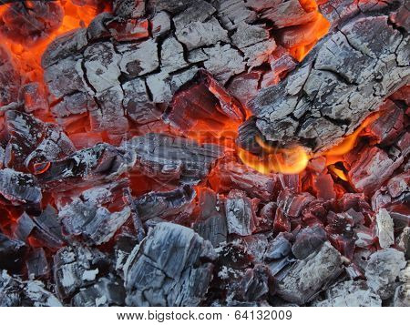 Hot Live Charcoal Extreme Closeup Photo