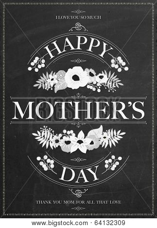 Vintage Happy Mothers's Day Typographical Background On Chalkboard