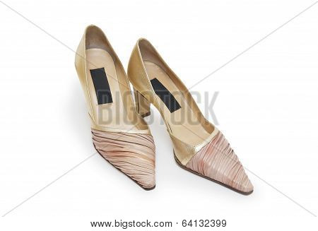 Biege High Heel Shoes Isolated On White
