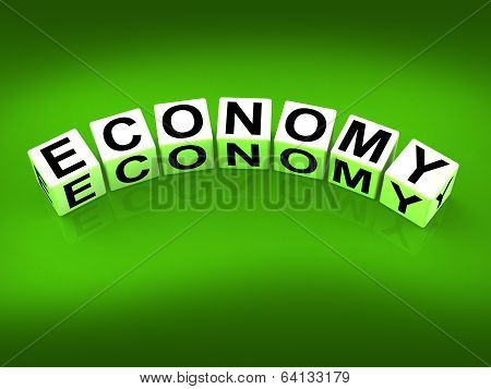 Economy Blocks Show Monetary And Economic Predictions