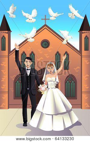Wedding Couple Releasing White Doves