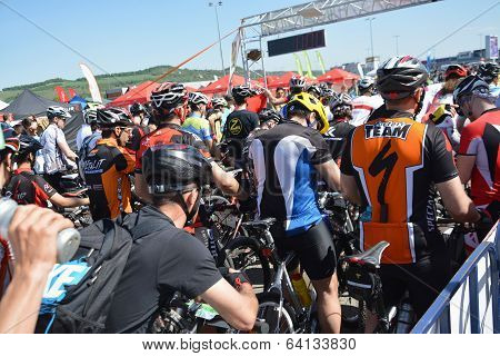 Mountain Bike Cyclists At Start Line