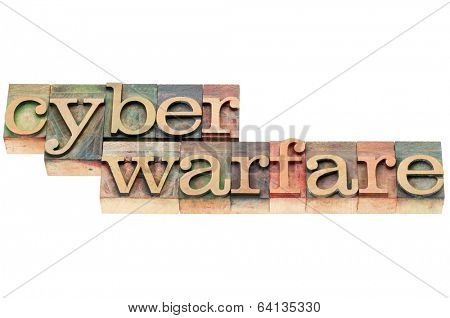 cyber warfare words - isolated text in letterpress wood type stained by color inks
