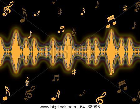 Sound Wave Background Means Frequency Amplifier Or Sound Mixer