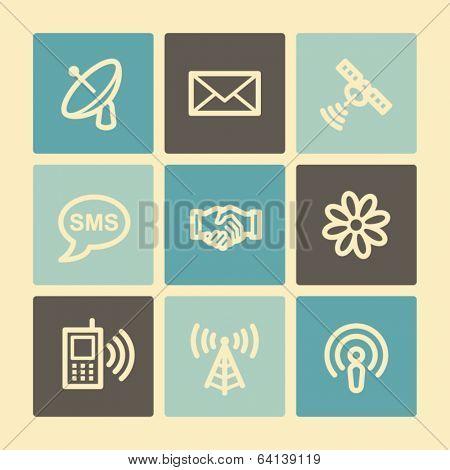 Communication web icons, buttons set