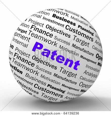Patent Sphere Definition Shows Protected Invention Or Legal Disc