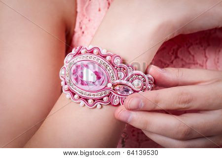 Female Pink Bracelet Technique Soutache On Hand