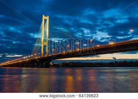 Pivdennyi Bridge in evening (Southern in evening). Ukraine. Kiev.