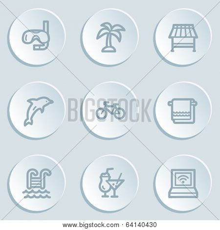 Vacation web icons , white sticker buttons
