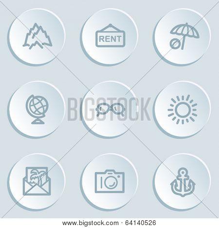 Travel  web icon set 5, white sticker buttons