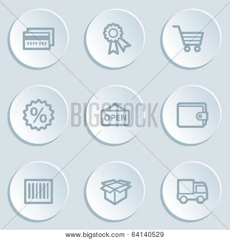 Shopping web icon set 2, white sticker buttons
