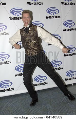 APRIL 19-ANAHEIM, CA:  Doug Jones arrives at the 2014 Annual Wondercon press room for