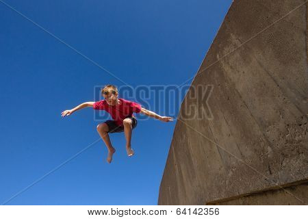 Boy Jumping Blue Sky Parkour