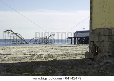 After Hurricane Sandy:  Seaside Heights, New Jersey Roller Coaster And Pier