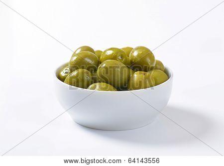 bowl of pickled green olives