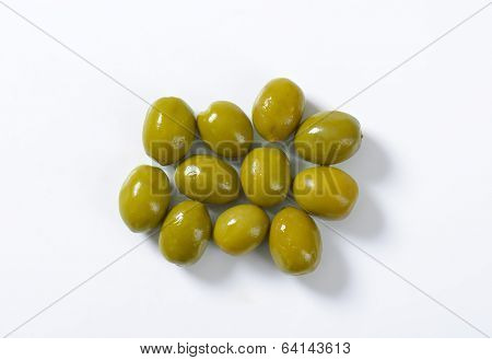 green olives on the white background