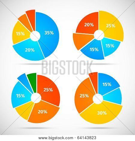 Pie Chart Icons Flat