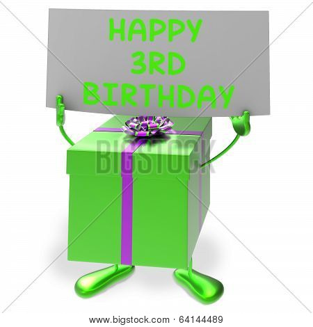 Happy 3Rd Birthday Sign And Gift Show Third Party