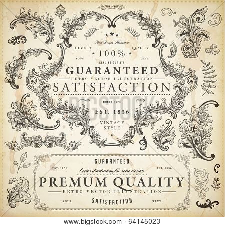 Vector set of calligraphic design elements: page decoration, Premium Quality and Satisfaction Guarantee Label, antique and baroque frames and floral ornaments | Old paper texture.