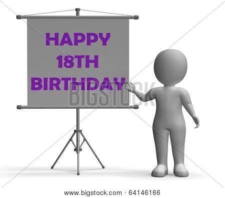 Happy Eighteenth Birthday Board Shows Happy Celebration