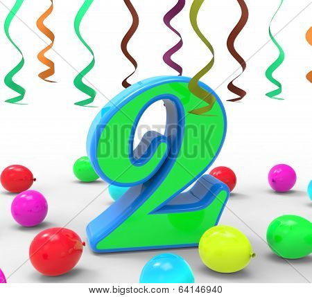 Number Two Party Means Colourful Garlands Or Bright Balloons