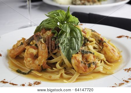 Shrimp And Linguine Fra Diavolo Topped With Fresh Basil