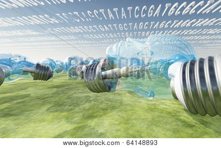 Genetic code clouds and human shaped light bulbs