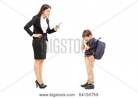 Angry mother disciplining her son isolated on white background