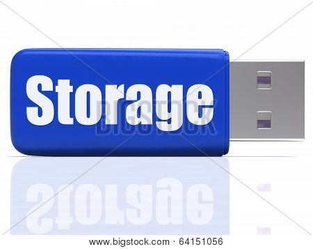 Storage Pen Drive Shows Data Backup Or Warehousing
