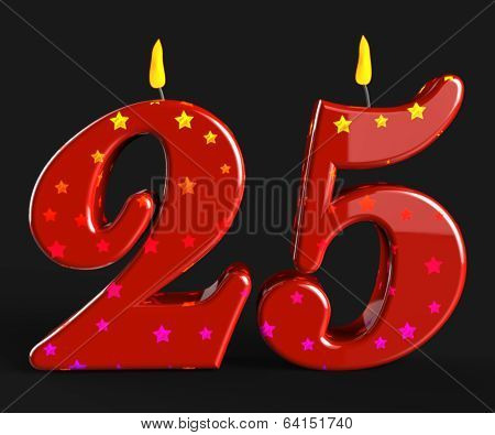 Number Twenty Five Candles Show Burning Candles Or Bright Flame