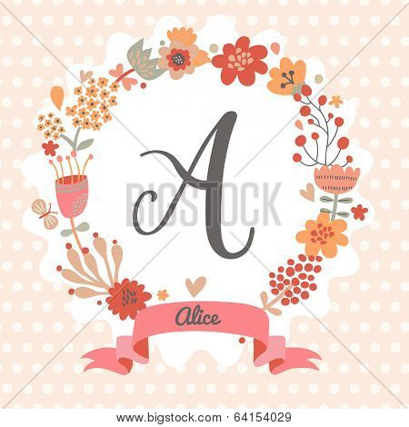 Personalized monogram in vintage colors. Stylish letter A. Can be used as greeting card, invitation card. Floral wreath in vector