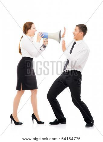 Angry and irritated business woman screaming on her employee. Feminism and emancipation concept.