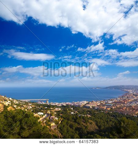 Javea Xabia aerial skyline from Molins in Alicante Mediterranean Spain