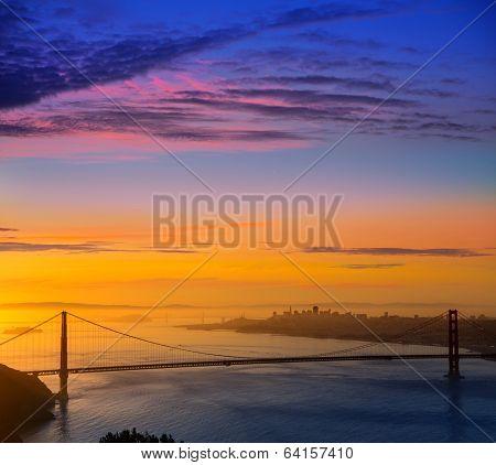 San Francisco Golden Gate Bridge sunrise California USA from Marin headlands