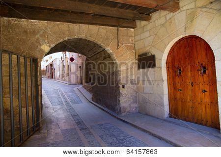 Mora de Rubielos masonry arches in Teruel Aragon stonewall village Maestrazgo Spain