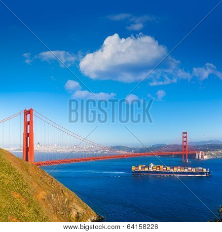 San Francisco Golden Gate Bridge merchant ship in California USA