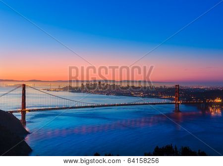 Golden Gate Bridge San Francisco sunrise California USA from Marin headlands