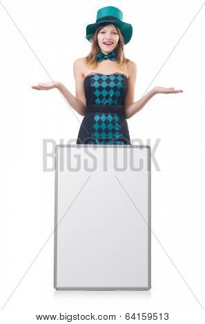 Young pretty woman with blank board isolated on white