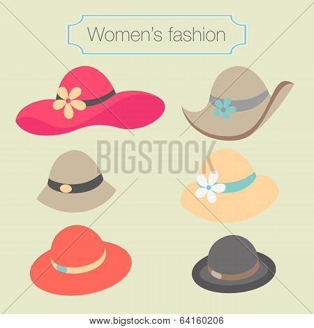 Women's fashion collection of hats