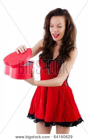 Young girl in red dress with  heart casket isolated on white