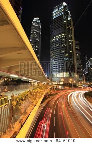 Hong Kong city center in the evening